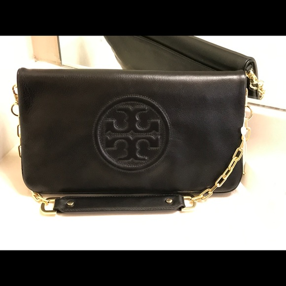 04c7be4af15 Tory burch bombe reva clutch shoulder bag black NWT